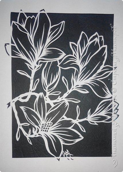 """Всем добрый день! Новая открыточка """"Магнолия"""". Рисунок для эскиза был взят из интернета,  изменён и доработан под """"вырезалку"""". Размер 12х16см. фото 3"""
