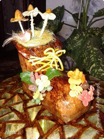 цветочки и грибочки из хф, башмак папье-маше