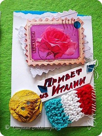 """Девочки,предлагаю вам свои карточки Италия по Совместнику https://stranamasterov.ru/node/1087039 ,сначала выбирают те кому я задолжала.Обязательный элемент вязание,у меня это итальянский флаг ,я решила пусть это будет """"ПРИВЕТ ИЗ ИТАЛИИ"""",цвета на фото отличаются от оригинала.Карточки с рецептами прилагаются,но это секрет . фото 3"""