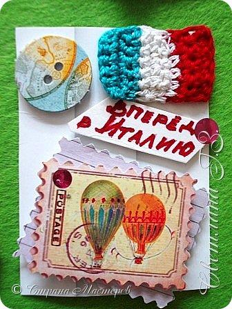 """Девочки,предлагаю вам свои карточки Италия по Совместнику https://stranamasterov.ru/node/1087039 ,сначала выбирают те кому я задолжала.Обязательный элемент вязание,у меня это итальянский флаг ,я решила пусть это будет """"ПРИВЕТ ИЗ ИТАЛИИ"""",цвета на фото отличаются от оригинала.Карточки с рецептами прилагаются,но это секрет . фото 5"""