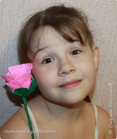 Добрый день, Страна мастеров! Дочка, ей 6 лет, сделала вот такую розочку из гофрированной бумаги.  фото 6