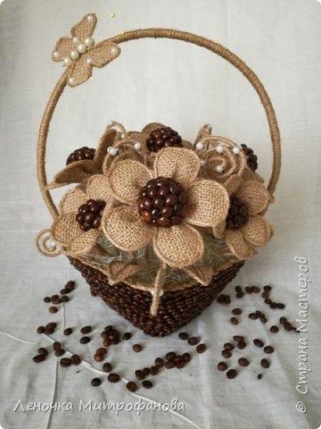 Корзина из кофе с цветами из мешковины)))) фото 1