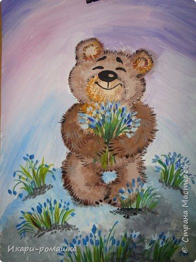 В подарок мамам рисовали весеннюю картину. Это моя работа. фото 1