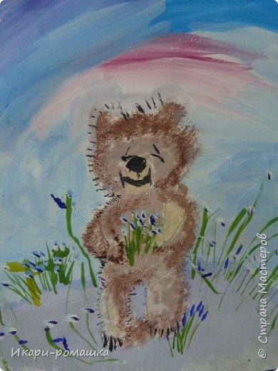 В подарок мамам рисовали весеннюю картину. Это моя работа. фото 4