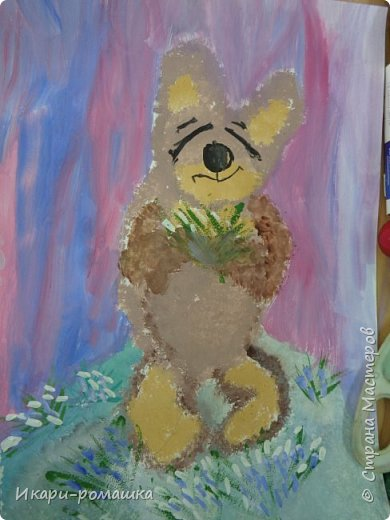 В подарок мамам рисовали весеннюю картину. Это моя работа. фото 6