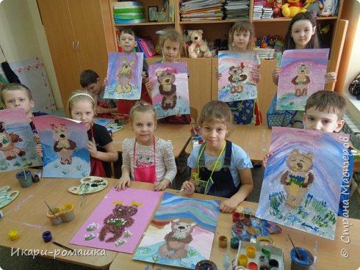 В подарок мамам рисовали весеннюю картину. Это моя работа. фото 7