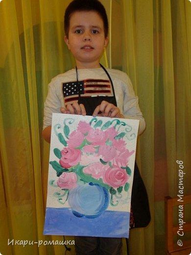 В подарок мамам рисовали весеннюю картину. Это моя работа. фото 12