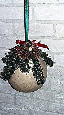 """Всем здравствуйте! """"Очнись - уже ВЕСНА"""" )))))- сказала мне сестра, когда увидела мои новогодние домики, а я все не унимаюсь.  Вот  вам шары, новогодний и воздушный. Шары из папье - маше, основой  был воздушный шарик. фото 2"""