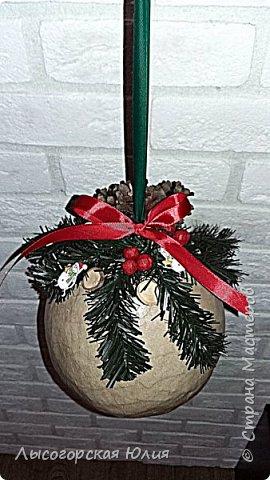 """Всем здравствуйте! """"Очнись - уже ВЕСНА"""" )))))- сказала мне сестра, когда увидела мои новогодние домики, а я все не унимаюсь.  Вот  вам шары, новогодний и воздушный. Шары из папье - маше, основой  был воздушный шарик. фото 3"""