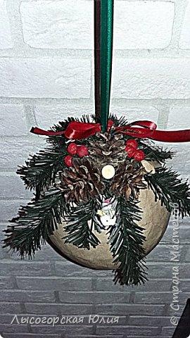 """Всем здравствуйте! """"Очнись - уже ВЕСНА"""" )))))- сказала мне сестра, когда увидела мои новогодние домики, а я все не унимаюсь.  Вот  вам шары, новогодний и воздушный. Шары из папье - маше, основой  был воздушный шарик. фото 5"""