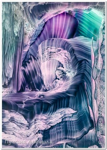 """Фиолетовое чудо.."", ф.А.4, картон, утюг, воск, техника -Энкаустика фото 3"