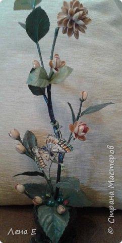 цветочки фисташки, листики искусственные, горшочек из гипса фото 1