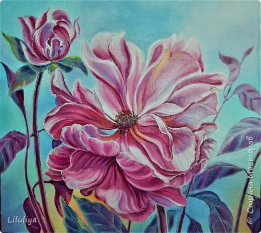 И снова любимые цветы ..  На этот раз холст на фанере 60х65 . масляные краски. Камера как всегда не передаёт той яркости мясляных красок