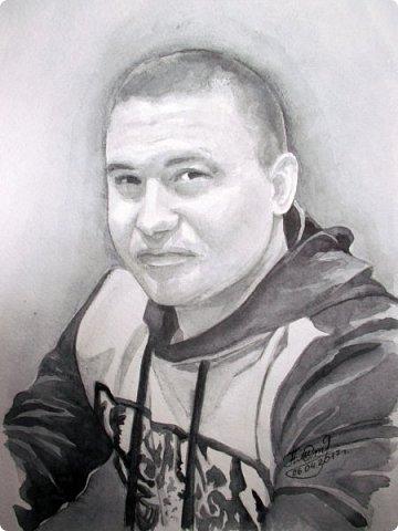 Мужской портрет. Акварель. Формат А4. фото 1