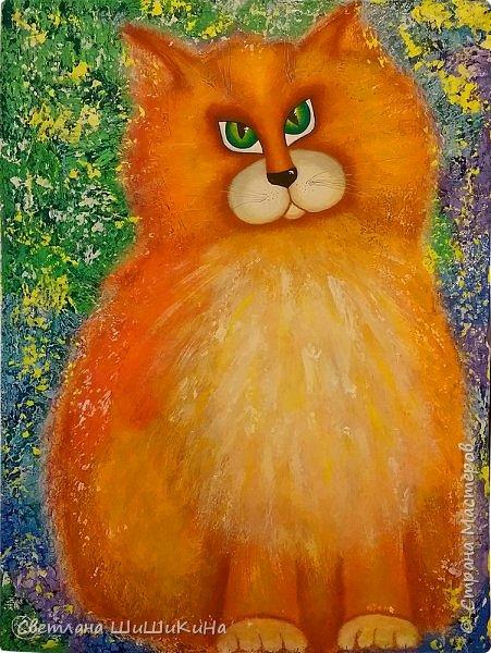 Рыжий маг и хитрый плут, Глаз зелёных изумруд. Как у льва вальяжный шарм, Не скучает по мышам…  Пока творятся следующие мандалы, сотворился котейка... Холст 66 х 50 см. Акрил.