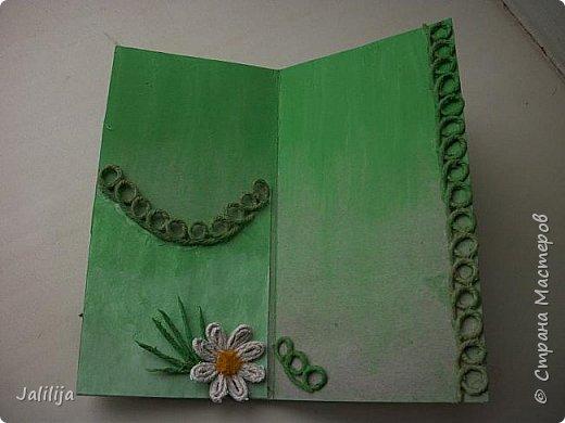 Приветствую всех, кто ко мне заглянул. Продолжаю свои джутовые открытки, пока весна у нас ещё не наступила.  Вот ещё одна. Эта зелёненькая.  фото 9