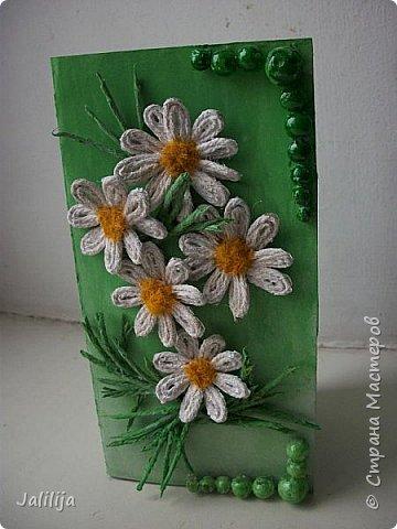 Приветствую всех, кто ко мне заглянул. Продолжаю свои джутовые открытки, пока весна у нас ещё не наступила.  Вот ещё одна. Эта зелёненькая.  фото 6
