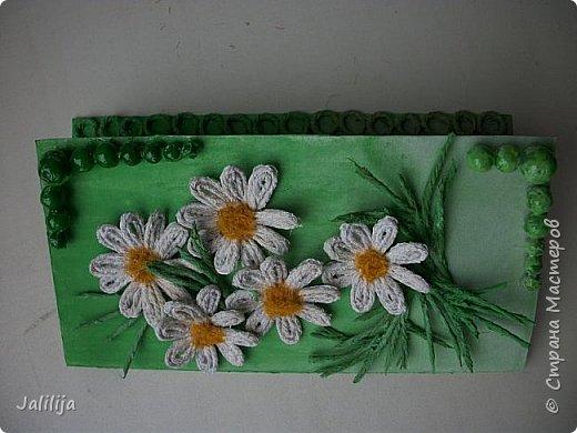 Приветствую всех, кто ко мне заглянул. Продолжаю свои джутовые открытки, пока весна у нас ещё не наступила.  Вот ещё одна. Эта зелёненькая.  фото 7