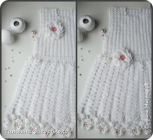 Детское платье выполненное в технике брюггского кружева из 100% мерсеризованного хлопка. нитки Ирис пнк им Кирова. Размер 58-60, длина 48 см, на 2 - 2,5 года. Отложной воротничок из мотивов, по спине шнуровка высотой с пройму. Использовала перламутровые бусины 2х цветов и акриловые шапочки на концах шнурков фото 13