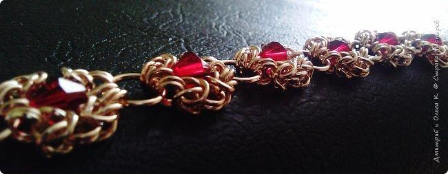 Браслет из металлических колечек Цвет красное золото Биконусы гранатовые фото 2