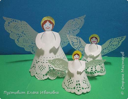 """Дорогие друзья, доброго вам всем вечера! Решила показать ангелочков из кружевных салфеток. Сама идея очень """"древняя"""", но вот из кружевных кондитерских бумажных салфеток таких ангелочков делаем впервые, решила поделиться. фото 1"""