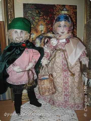 """Здравствуй, моя Страна!!! В преддверии """" Бажовского Фестиваля """" я пошила немного кукол в народной теме. Так родились на свет льняные куклы """"Садко  и Настасья"""". Рост кукол 35см., вся одежда снимается, выкройка моя. фото 1"""
