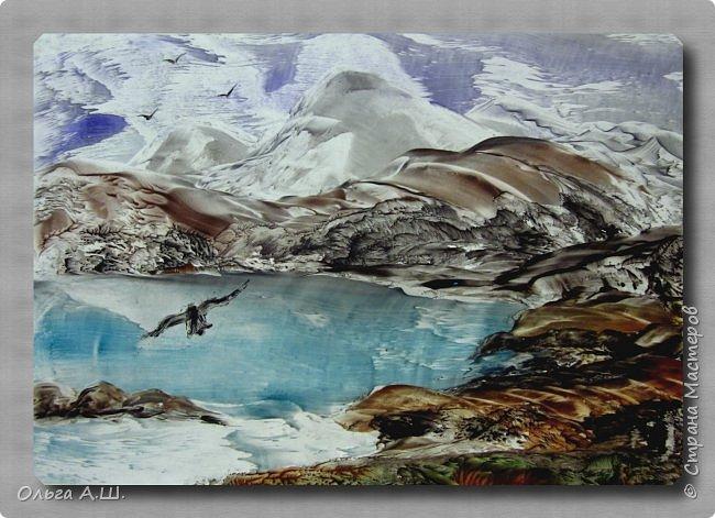 """На дворе весна, а вчера шел снег как это бывает в конце ноября или в декабре. Наутюжила серый холодный пейзаж. Сегодня проснулась от яркого солнца, решила нарисовать яркий пейзаж. Пока """"утюжила"""", погода изменись, пошел дождь. Вот такие и пейзажи получились, от крайности в крайность.)))))  """"Зной"""".  А3 фото 3"""