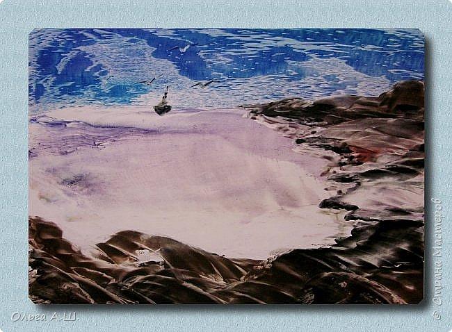 """На дворе весна, а вчера шел снег как это бывает в конце ноября или в декабре. Наутюжила серый холодный пейзаж. Сегодня проснулась от яркого солнца, решила нарисовать яркий пейзаж. Пока """"утюжила"""", погода изменись, пошел дождь. Вот такие и пейзажи получились, от крайности в крайность.)))))  """"Зной"""".  А3 фото 4"""