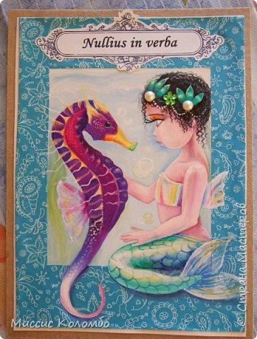 Морской конёк. Рисованная открытка гуашью фото 2