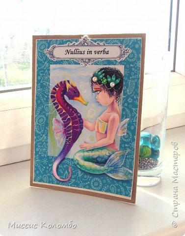 Морской конёк. Рисованная открытка гуашью фото 1