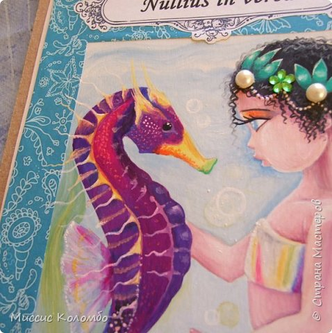 Морской конёк. Рисованная открытка гуашью фото 3