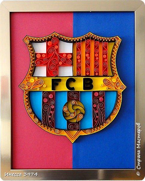Добрый день,дорогие коллеги!Моя новая работа в технике контурный квиллинг.Картина сделана в подарок на день рождения моему внуку,фанату футбольного клуба Барселона.Ему 30 апреля исполняется 9 лет фото 2
