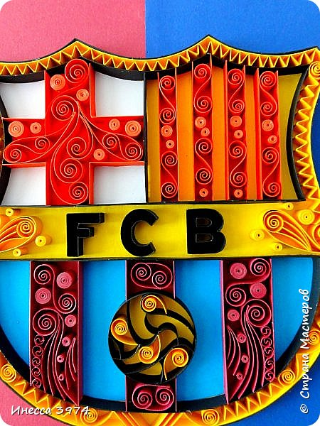 Добрый день,дорогие коллеги!Моя новая работа в технике контурный квиллинг.Картина сделана в подарок на день рождения моему внуку,фанату футбольного клуба Барселона.Ему 30 апреля исполняется 9 лет фото 5