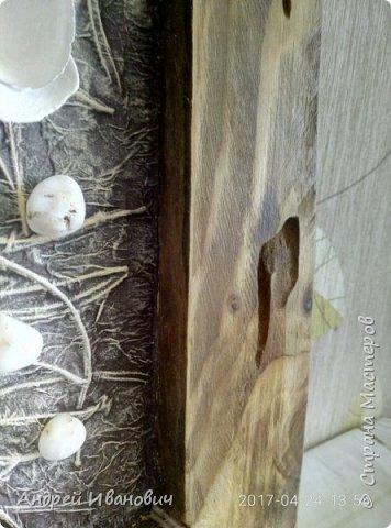 Брус, иголки еловые, ракушки, салфетки, ветка Ореховая,краски акриловые  фото 4