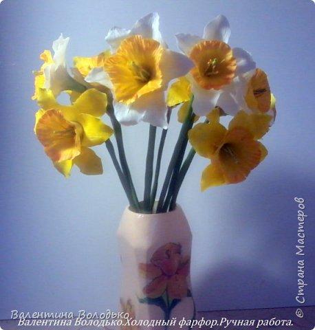 Добрый день мастера и мастерицы!!!!Сегодня я к вам с весенними цветами нарциссами.Очень надеюсь,что и весна нас побалует теплой погодой. фото 2
