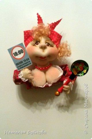 Небольшие текстильные куколки-магнит на холодильник  фото 6