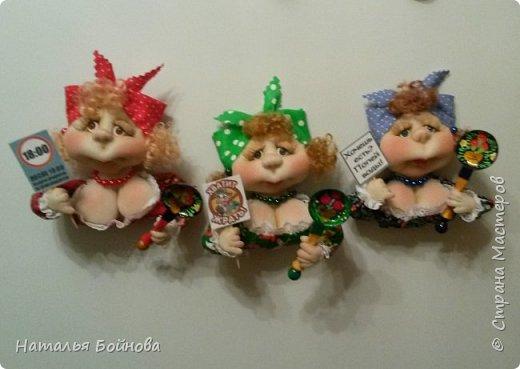 Небольшие текстильные куколки-магнит на холодильник  фото 1