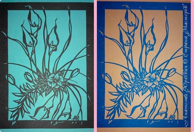 """Добрый день! Вашему вниманию новая открытка (по работе Светланы Прохоровой """"Цветочная композиция из белых калл"""" ) Эскиз нарисован, изменён и доработан под """"вырезалку"""". Размер 12х16см. фото 7"""