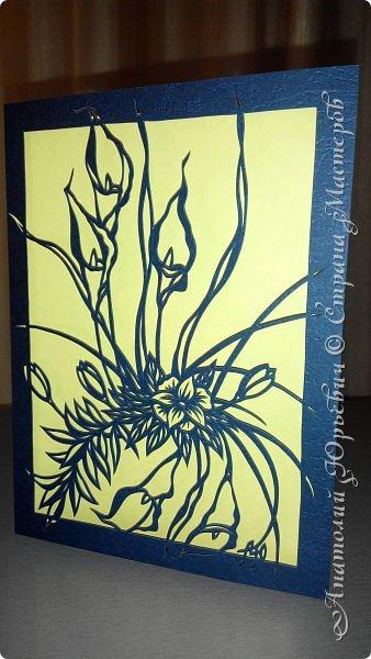 """Добрый день! Вашему вниманию новая открытка (по работе Светланы Прохоровой """"Цветочная композиция из белых калл"""" ) Эскиз нарисован, изменён и доработан под """"вырезалку"""". Размер 12х16см. фото 1"""