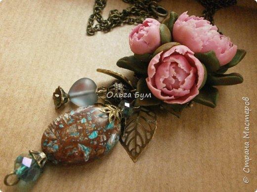 "Кулон  ""Розовые пионы"" фото 3"