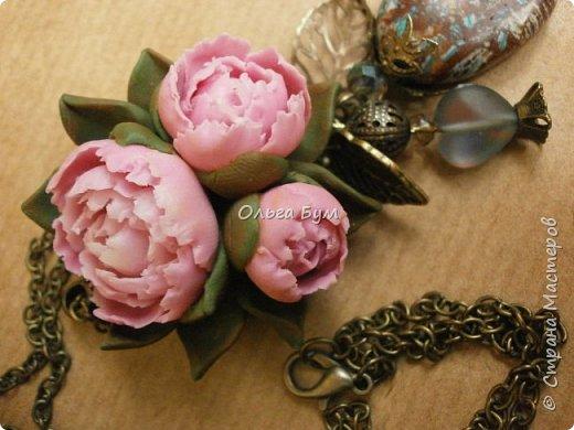 "Кулон  ""Розовые пионы"" фото 10"