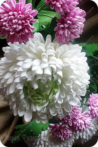 Доброго времени суток,милые рукодельницы и рукодельники!Сегодня завершила огромную работу - букет хризантем.В букете 5 белых шаровидных хризантем и 4 ветки кустовых хризантем.В каждой веточке по 5 цветков.Букет получился большой,роскошный.Надеюсь,что скоро будет радовать свою новую хозяйку - любительницу хризантем. фото 10