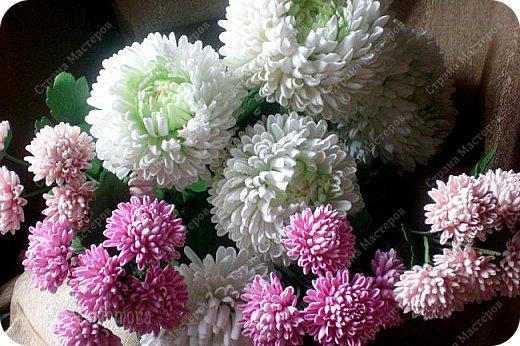 Доброго времени суток,милые рукодельницы и рукодельники!Сегодня завершила огромную работу - букет хризантем.В букете 5 белых шаровидных хризантем и 4 ветки кустовых хризантем.В каждой веточке по 5 цветков.Букет получился большой,роскошный.Надеюсь,что скоро будет радовать свою новую хозяйку - любительницу хризантем. фото 1