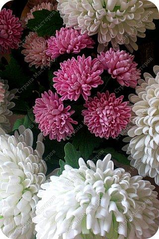Доброго времени суток,милые рукодельницы и рукодельники!Сегодня завершила огромную работу - букет хризантем.В букете 5 белых шаровидных хризантем и 4 ветки кустовых хризантем.В каждой веточке по 5 цветков.Букет получился большой,роскошный.Надеюсь,что скоро будет радовать свою новую хозяйку - любительницу хризантем. фото 21
