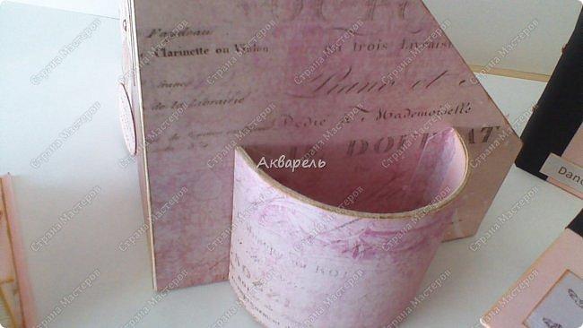 Органайзер номер два, был еще и третий чисто розовый, но не сфотографировала. Это для дочки. Сделала по ее желанию и вкусу. Мне кажется, удачное сочетание цвета и бумаги. Назвали его «балет». На изделие пошел картон пивной 1,5мм толщина, несколько листов скрапбумаги и бумага двусторонняя, клей. Клей использую UHU, хороший клей. фото 18