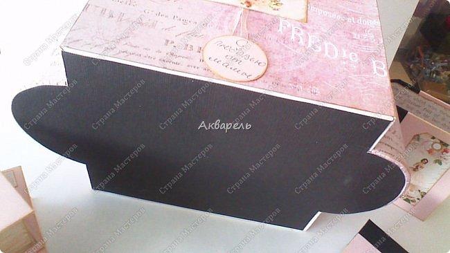 Органайзер номер два, был еще и третий чисто розовый, но не сфотографировала. Это для дочки. Сделала по ее желанию и вкусу. Мне кажется, удачное сочетание цвета и бумаги. Назвали его «балет». На изделие пошел картон пивной 1,5мм толщина, несколько листов скрапбумаги и бумага двусторонняя, клей. Клей использую UHU, хороший клей. фото 19
