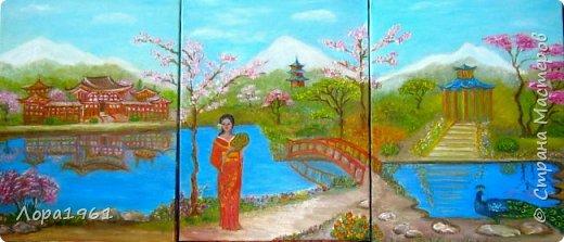 Холст 30х40, масло, 2017г.  Страна восходящего солнца, изысканность пагод, величие гор, цветение сакуры, отблеск озёр... фото 1