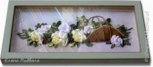 """Дорогие друзья! Представляю Вашему вниманию мою новую работу по принту """"Панорамные розы"""". Размер 455*230 мм. Атласные ленты с тонированием вышитых роз желтым и розовым акрилом.  На выставке рукоделия я приобрела уже готовый набор для вышивки (с лентами, красками и деревянной заготовкой для """"корзины"""" - я только обработала ее морилкой). Вот что у меня получилось :-) Картина в рамке-коробке, со стеклом (ее уже заказывала в багетной мастерской) фото 7"""