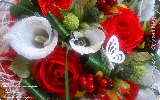 ручной букет с каллами и розами фото 4