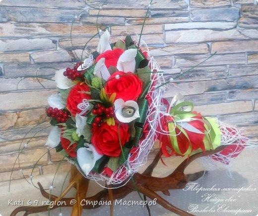 ручной букет с каллами и розами фото 2